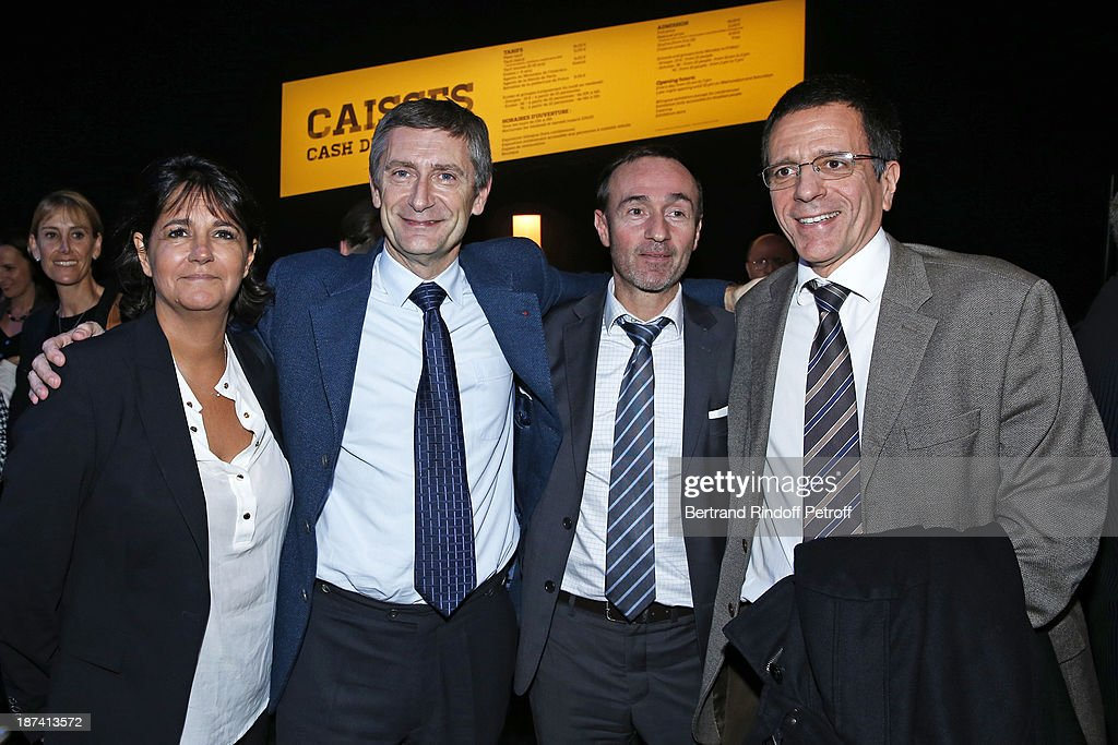 Journalist Valerie Expert, former Chief Executive of the National Police <a gi-track='captionPersonalityLinkClicked' href=/galleries/search?phrase=Frederic+Pechenard&family=editorial&specificpeople=4380379 ng-click='$event.stopPropagation()'>Frederic Pechenard</a>, head of BRI, the Brigade of Research and Intervention, Michel Faury, and Chief of the Judicial Police Regional Service (SDPJ) of Seine-Saint-Denis Christophe Descombs pose as they attends the '100th Anniversary of The Paris Judiciary Police' exhibition opening on November 8, 2013 in Paris, France.