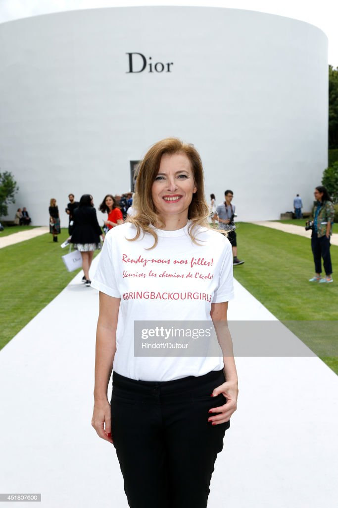 Journalist <a gi-track='captionPersonalityLinkClicked' href=/galleries/search?phrase=Valerie+Trierweiler&family=editorial&specificpeople=8534231 ng-click='$event.stopPropagation()'>Valerie Trierweiler</a> attends the Christian Dior show as part of Paris Fashion Week - Haute Couture Fall/Winter 2014-2015. Held at Musee Rodin on July 7, 2014 in Paris, France.