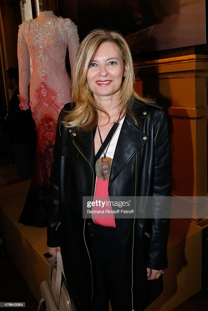 Journalist Valerie Trierweiler attends the Presentation of the Alexis Mabille Haute Couture Fall/Winter 2015/2016 collection as part of Paris Fashion Week Haute Couture Fall/Winter 2015/2016. Held at Opera Garnier on July 8, 2015 in Paris, France.