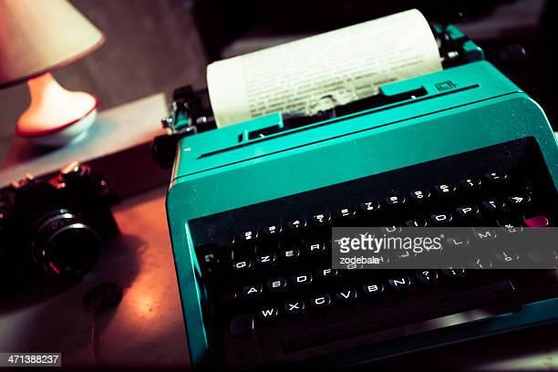 Journalist Vintage Office with Typewriter and Reflex Camera