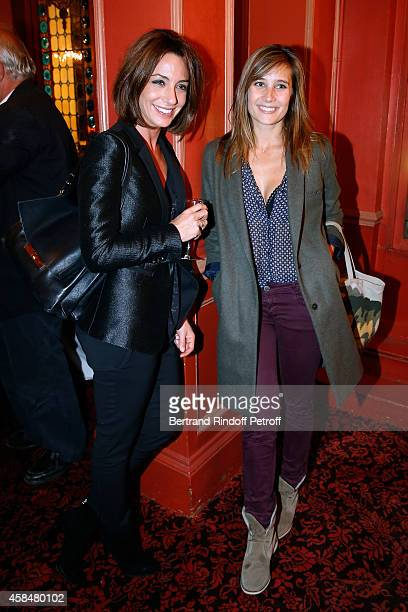 Journalist Virginie Guilhaume and actress Julie de Bona attend the 150th Representation of the 'Je prefere qu'on reste amis' Theater Play at Theatre...