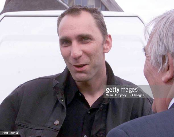 Journalist Will Self talks to a colleague as he follows British Prime Minister Tony Blair on the General Election campaign trail at Twyndall near...