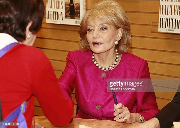 Journalist writer and media personality Barbara Walters signs copies of 'Audition A Memoir' at Barnes Noble on May 6 2008 in New York City