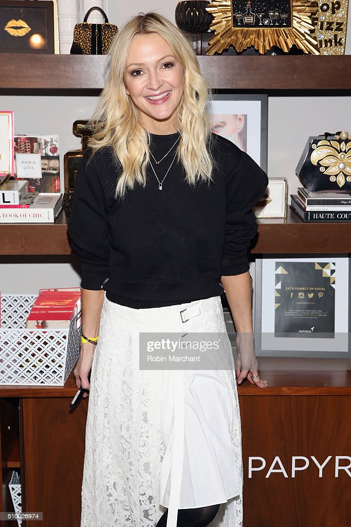 Journalist, Zanna Roberts Rassi, poses at Fall 2016 New York Fashion Week at the Gallery, Skylight at Clarkson Sq on February 13, 2016 in New York City.