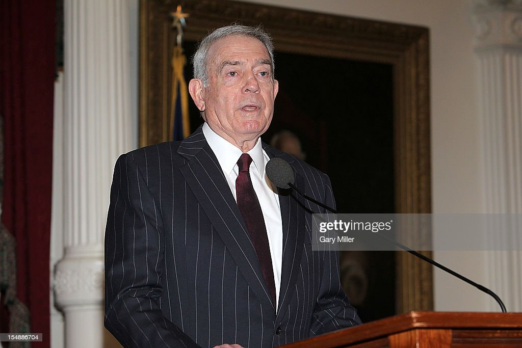 Journalist/author <a gi-track='captionPersonalityLinkClicked' href=/galleries/search?phrase=Dan+Rather&family=editorial&specificpeople=209204 ng-click='$event.stopPropagation()'>Dan Rather</a> talks about his new book 'Rather Outspoken' during the Texas Book Festival at the Texas State Capitol on October 28, 2012 in Austin, Texas.