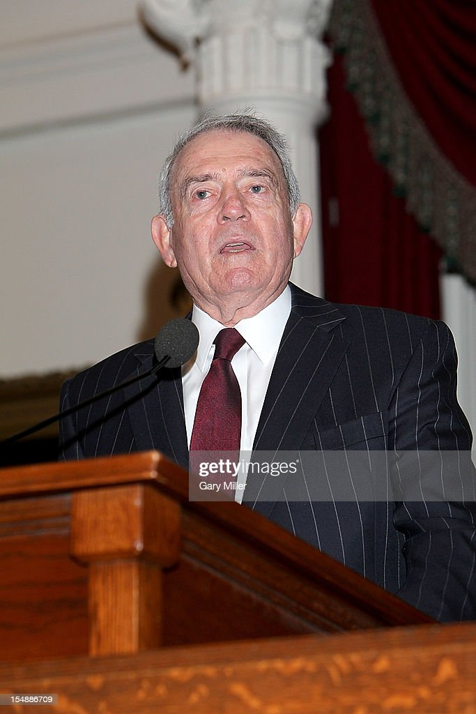 Journalist/author Dan Rather talks about his new book 'Rather Outspoken' during the Texas Book Festival at the Texas State Capitol on October 28, 2012 in Austin, Texas.