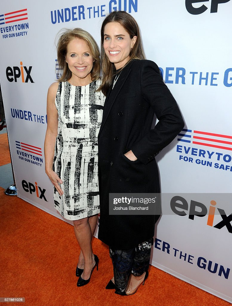 Journalist/executive producer Katie Couric and actress Amanda Peet attend the 'Under The Gun' LA premiere featuring Katie Couric and Stephanie...