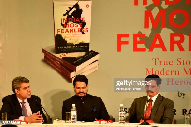 Journalists and authors Rahul Singh and Shiv Aroor with former Army Chief Dalbeer Singh during the launch of book 'India's Most Fearless' on...