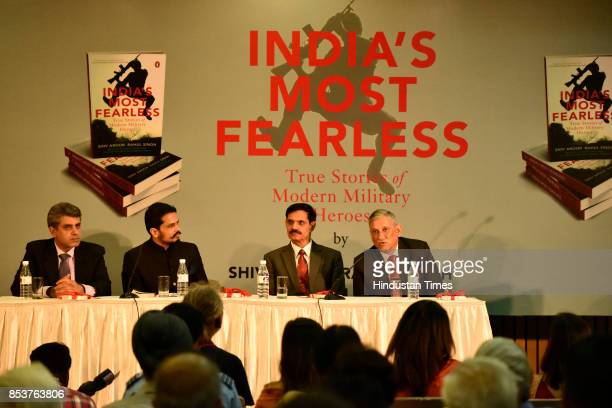 Journalists and authors Rahul Singh and Shiv Aroor with former Army Chief Dalbeer Singh and Chief of the Army Staff General Bipin Rawat during the...