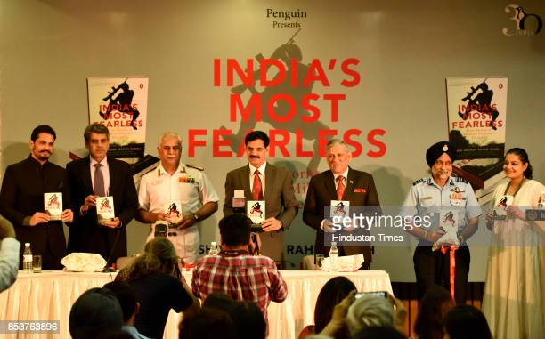 Journalists and authors Shiv Aroor and Rahul Singh with Vice Admiral Karambir Singh former Army Chief Dalbeer Singh Chief of the Army Staff General...