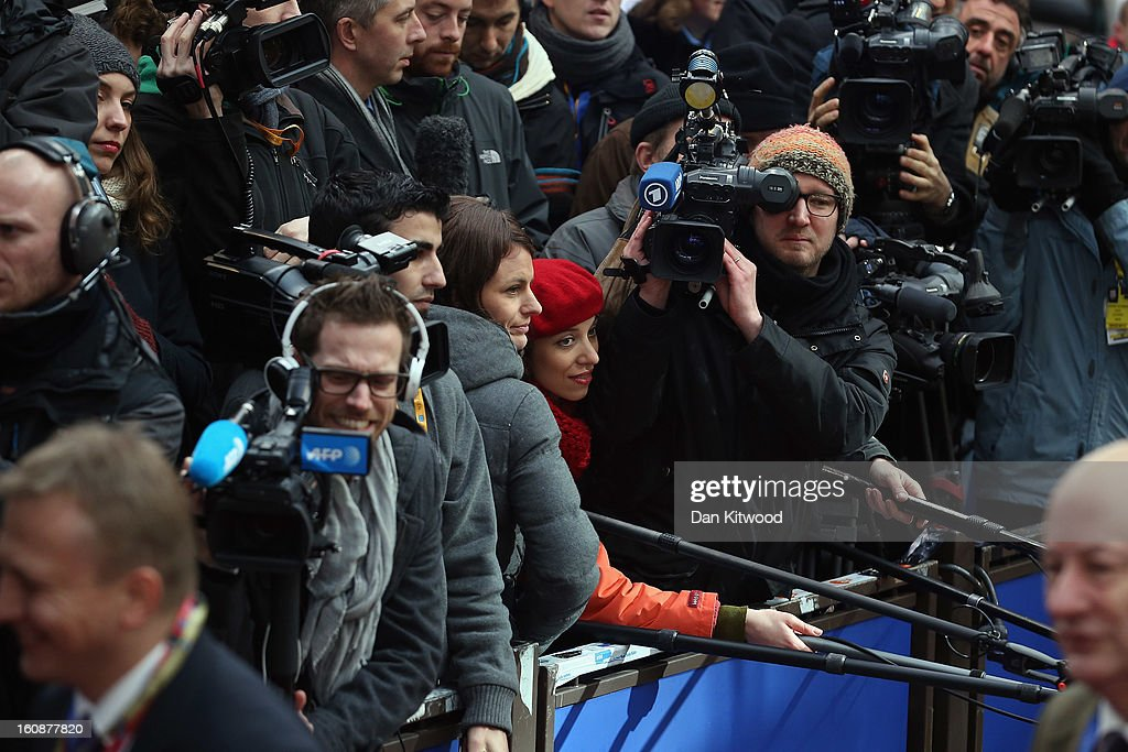 Journalists and cameramen jockey for position as leaders arrive for the start of the European Council Meeting on February 7, 2013 in Brussels, Belgium. The President of the European Council, Herman Van Rompuy has announced that he will aim to reach an agreement on the EU's 2014-2020 budget during the two-day summit, which takes place on February 7 and 8. Cameron is expected to demand further cuts or a freeze to EU spending to reflect the national austerity measures implemented across Europe, amid stiff opposition from EU funded countries.