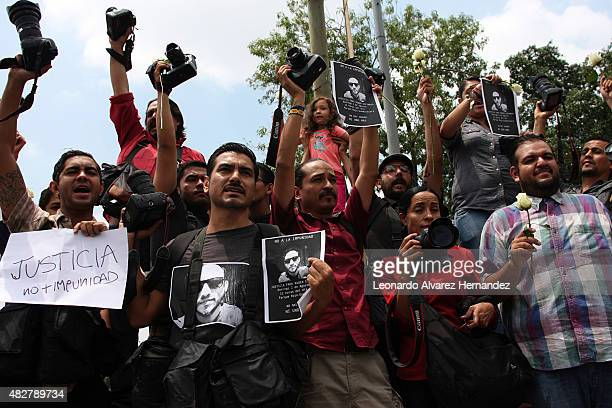Journalists and media of Jalisco raise their cameras to protest against the murder of the journalist Ruben Espinosa in Veracruz Mexico on August 02...