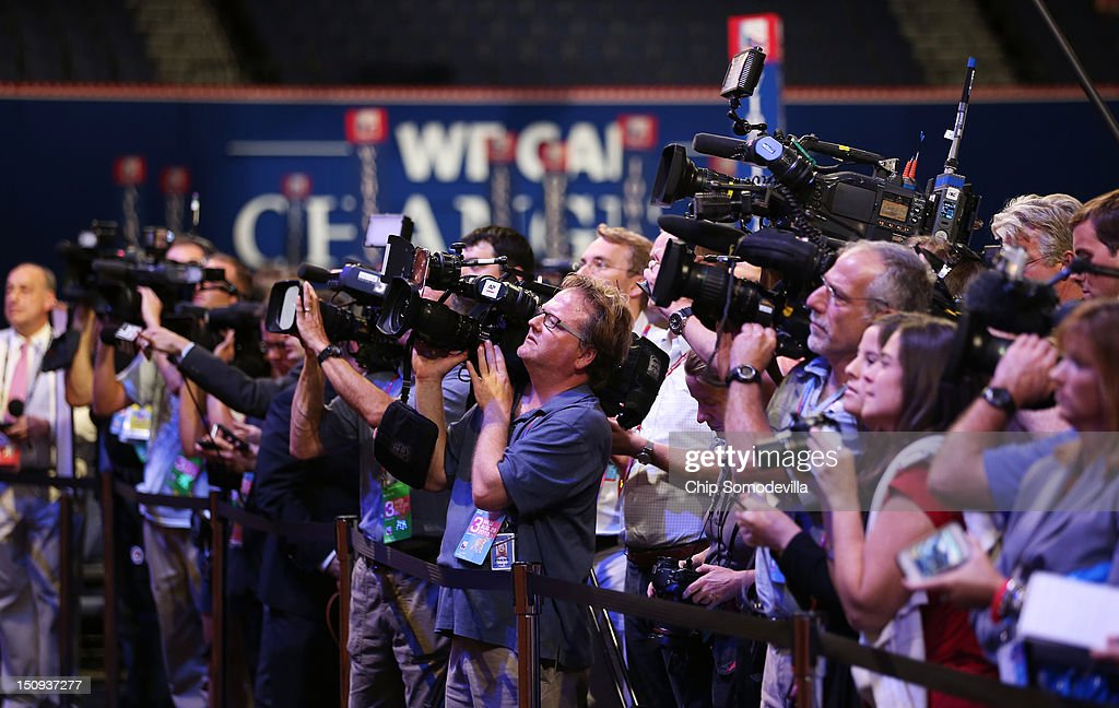 Journalists and media work during the third day of the Republican National Convention at the Tampa Bay Times Forum on August 29, 2012 in Tampa, Florida. Former Massachusetts Gov. Former Massachusetts Gov. Mitt Romney was nominated as the Republican presidential candidate during the RNC, which is scheduled to conclude August 30.