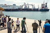 Journalists and reporters gather at the Israeli southern port of Ashdod as Lady Leyla a humanitarian aid ship sent from Turkey to the Gaza Strip...