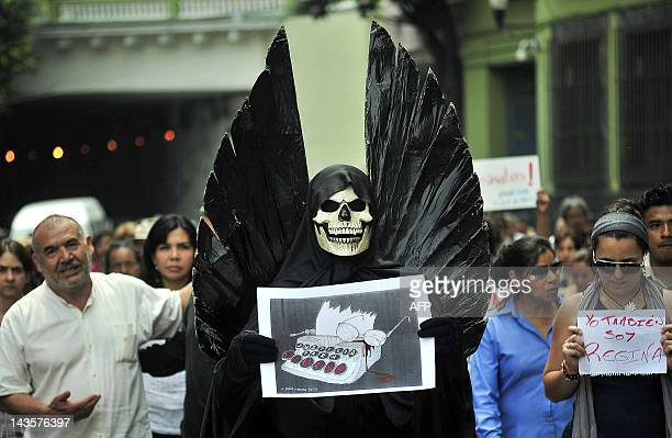 Journalists and students protest the murder of Mexican journalist Regina Martinez in Xalapa Veracruz State Mexico on April 29 2012 Martinez was...