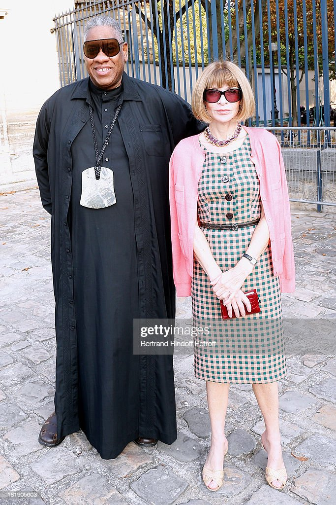 Journalists <a gi-track='captionPersonalityLinkClicked' href=/galleries/search?phrase=Andre+Leon+Talley&family=editorial&specificpeople=171165 ng-click='$event.stopPropagation()'>Andre Leon Talley</a> and <a gi-track='captionPersonalityLinkClicked' href=/galleries/search?phrase=Anna+Wintour&family=editorial&specificpeople=202210 ng-click='$event.stopPropagation()'>Anna Wintour</a> arriving at Balenciaga show as part of the Paris Fashion Week Womenswear Spring/Summer 2014, held at Paris Observatory on September 26, 2013 in Paris, France.