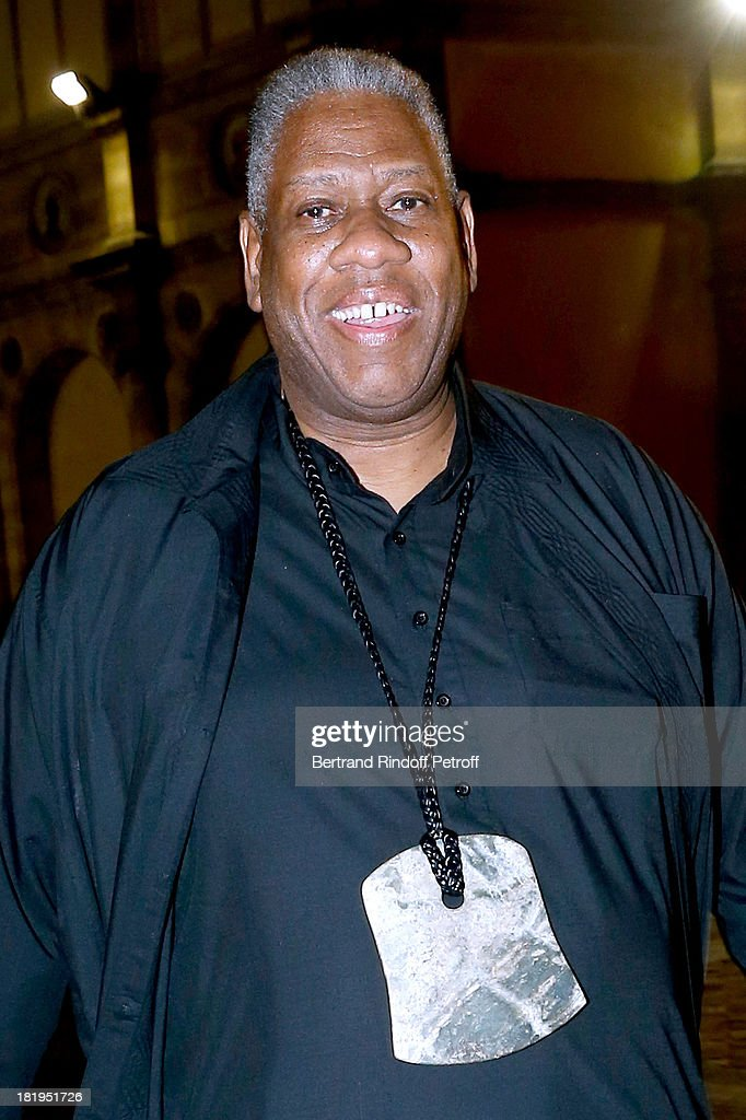 Journalists Andre Leon Talley arriving at Lanvin show as part of the Paris Fashion Week Womenswear Spring/Summer 2014, held at 'Ecole des beaux Arts' on September 26, 2013 in Paris, France.