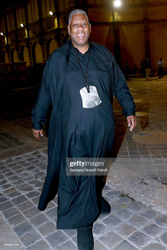 Journalists <a gi-track='captionPersonalityLinkClicked' href=/galleries/search?phrase=Andre+Leon+Talley&family=editorial&specificpeople=171165 ng-click='$event.stopPropagation()'>Andre Leon Talley</a> arriving at Lanvin show as part of the Paris Fashion Week Womenswear Spring/Summer 2014, held at 'Ecole des beaux Arts' on September 26, 2013 in Paris, France.