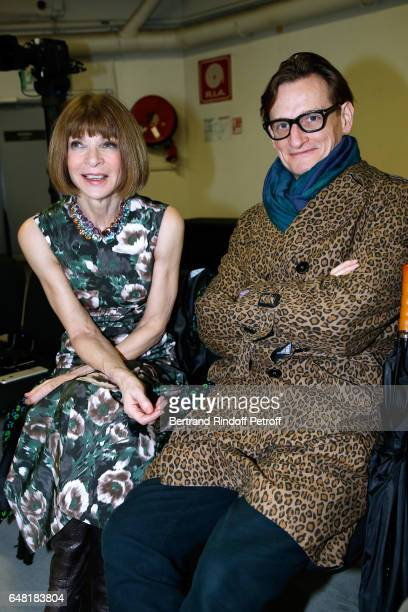 Journalists Anna Wintour and Hamish Bowles attend the Balenciaga show as part of the Paris Fashion Week Womenswear Fall/Winter 2017/2018 Held at...