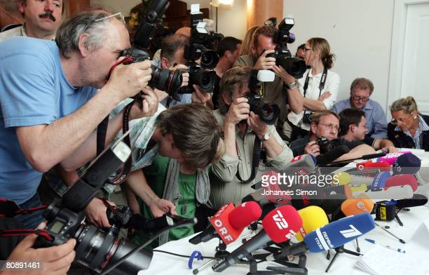 Journalists are seen during a press conference over the case of 24 yearlong capture and incestuous abuse of woman by her own father on April 28 2008...