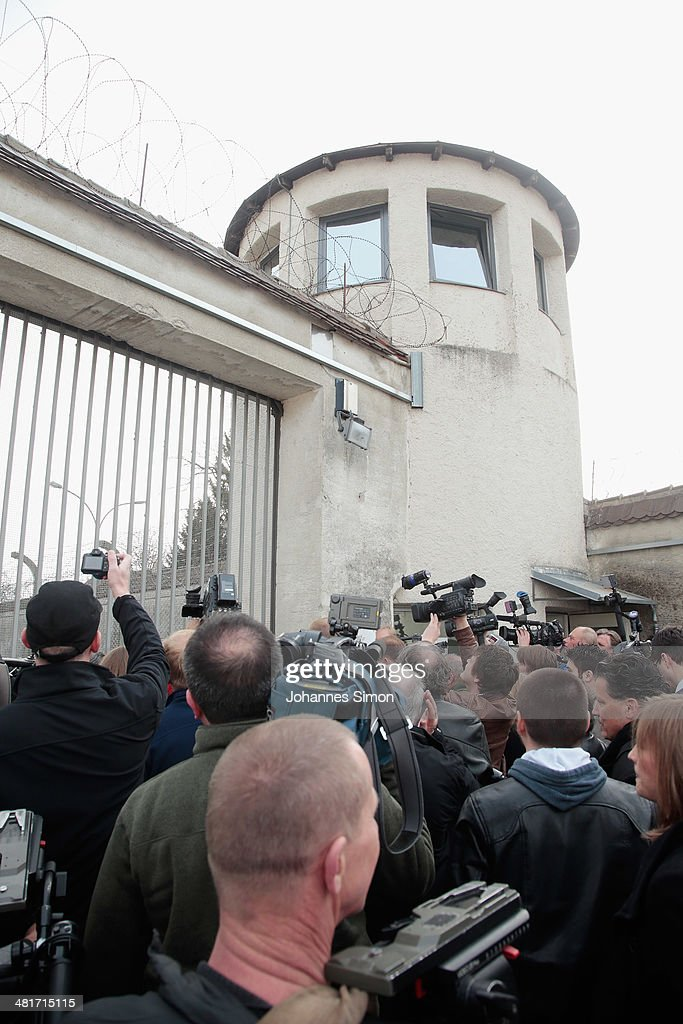 Journalists attend a guided tour at the Landsberg prison where former FC Bayern Muenchen president Uli Hoeness will serve his sentence on March 31...