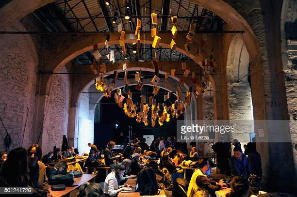 Journalists attends the meeting of the Leopolda 2015 in the press room on December 13 2015 in Florence Italy The Leopolda an annual public meeting to...
