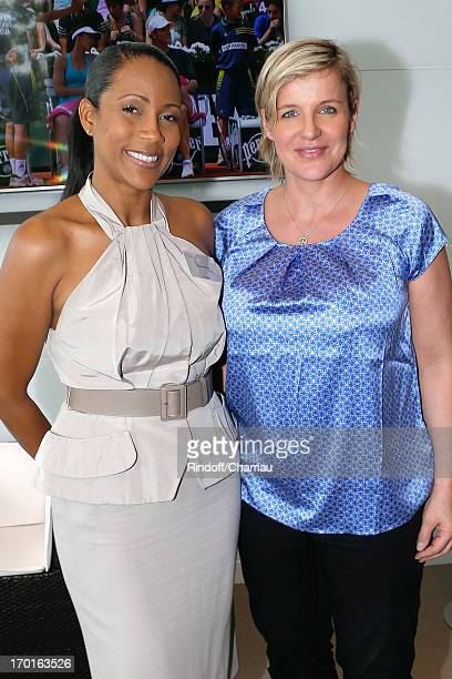 Journalists Christine Kelly and Celine Giraud at France Television french chanels studio whyle Roland Garros Tennis French Open 2013 Day 14 on June 8...