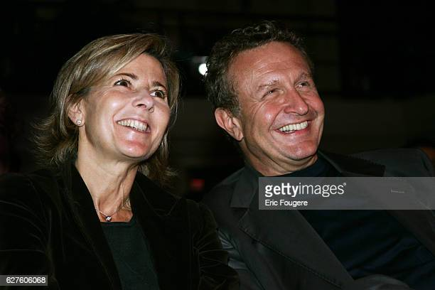 Journalists Claire Chazal and Michel Field attend the press conference of Pink TV