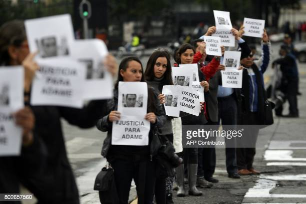 Journalists demand justice for slain Mexican journalist Salvador Adame Pardo in front of the National Palace in Mexico City on June 28 2017...