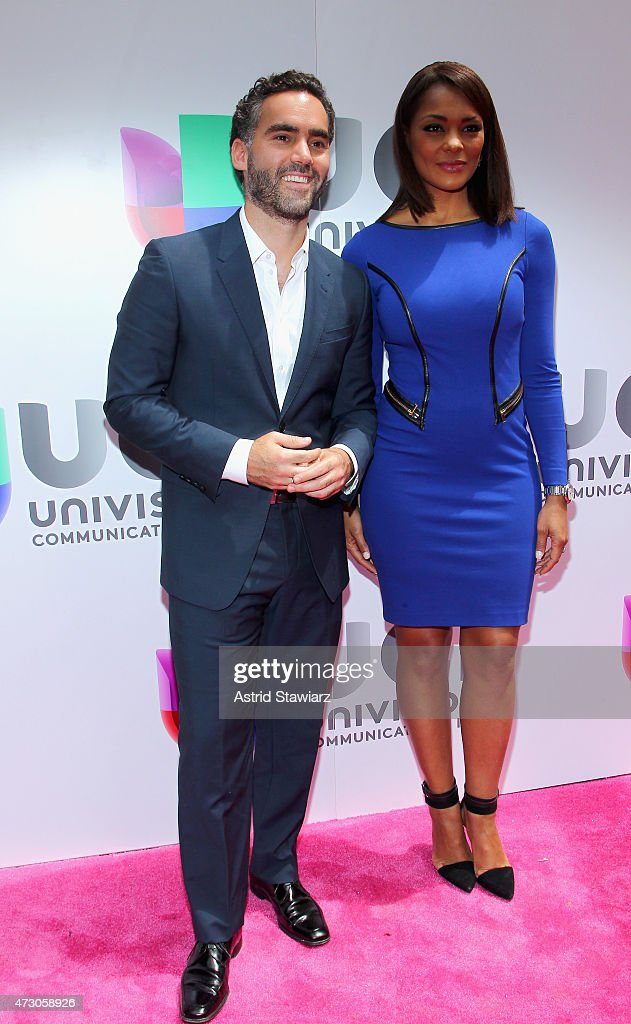 Journalists Enrique Acevedo and Ilia Calderon attend Univision's 2015 Upfront at Gotham Hall on May 12 2015 in New York City