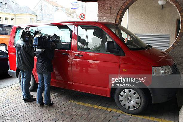 Journalists film inside the vehicle of five spanish people being heard by police on March 20 2010 at Melun's police station south of Paris The five...