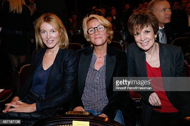Journalists Florence Dauchez Ariane Massenet and Catherine Laborde attend the 17th Clarins Award for Energizing woman 2014 Held at Opera Comique on...