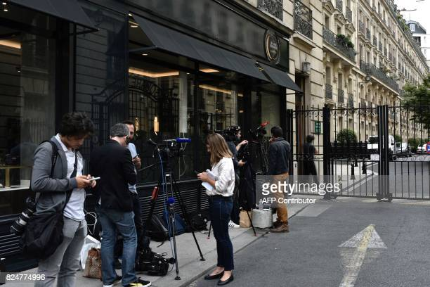 Journalists gather near the home of French actress Jeanne Moreau in Paris on July 31 after her death at the age of 89 was announced French actress...