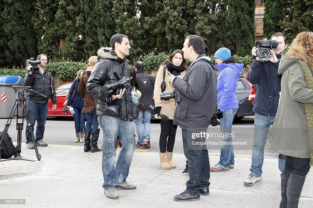Journalists gather outside Shakira and Gerard Pique's home on January 27, 2013 in Barcelona, Spain.