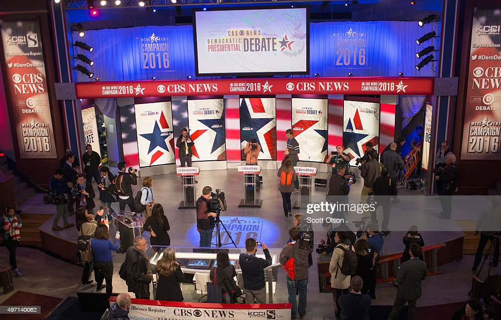 Journalists get a look at the stage for tonight's Democrat debate on the campus of Drake University on November 14 2015 in Des Moines Iowa The debate...