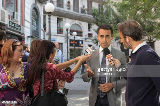 Journalists interview Luigi Di Maio Vice President Chamber of Deputies Citizen elected for the 5 Star Movement in Naples