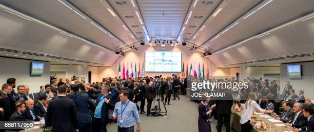 Journalists interview ministers of the Organization of the Petroleum Exporting Countries during their 172nd meeting at OPEC headquarters in Vienna...
