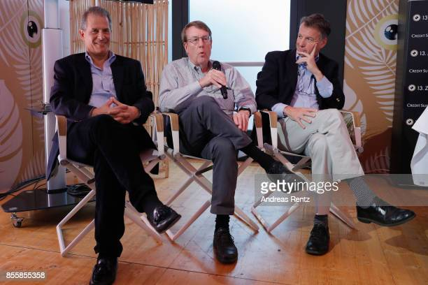 Journalists Jonathan Landay John Walcott and Warren Strobel attend the 'Shock and Awe' press conference during the 13th Zurich Film Festival on...