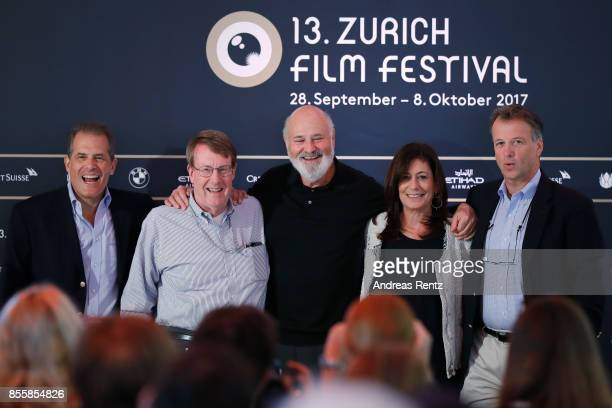 Journalists Jonathan Landay John Walcott director Rob Reiner with his wife Michele Singer Reiner and journalist Warren Strobel attend the 'Shock and...