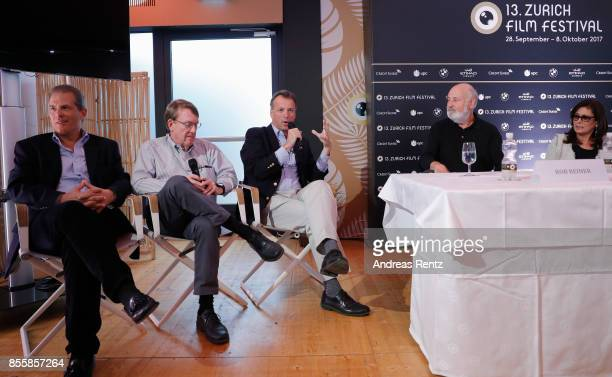 Journalists Jonathan Landay John Walcott Warren Strobel and director Rob Reiner attend the 'Shock and Awe' press conference during the 13th Zurich...