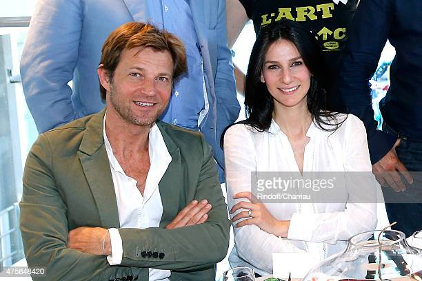 Journalists Laurent Delahousse and Marie Drucker attend the 2015 Roland Garros French Tennis Open Day Twelve on June 4 2015 in Paris France