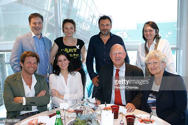 Journalists Laurent Delahousse Marie Drucker President of France Television Remy Pflimlin Chairwoman of the Committee on Culture Education and...
