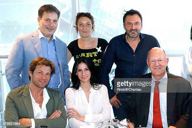 Journalists Laurent Delahousse Marie Drucker President of France Television Remy Pflimlin Director Gabriel Aghion Actress Corinne Masiero and TV Host...