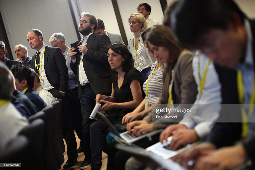 Journalists listen as British Prime Minister David Cameron delivers his final press briefing before leaving his last European Council Meeting at the Council of the European Union on June 28, 2016 in Brussels, Belgium. British Prime Minister David Cameron will hold talks with other EU leaders in what will likely be his final scheduled meeting with the full European Council before he stands down as Prime Minister. The meetings come at a time of economic and political uncertainty following the referendum result last week which saw the UK vote to leave the European Union.