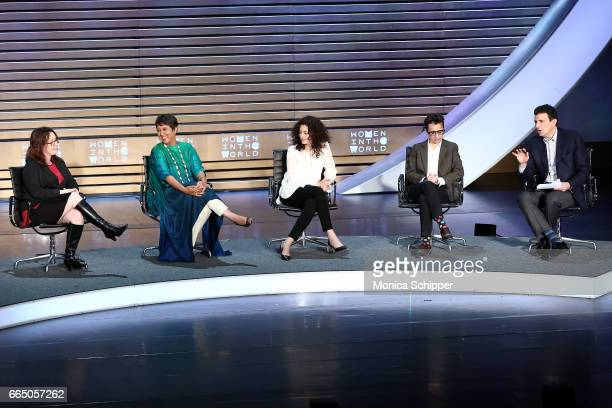 Journalists Maggie Lindsy Haberman Barkha Dutt Ece Temelkuran Masha Gessen and David Remnick speak on stage at the 8th Annual Women In The World...