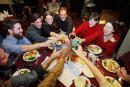 Journalists make a Thanksgiving toast at the UN Club November 22 2001 in Islamabad Pakistan Some of the international media representatives from the...