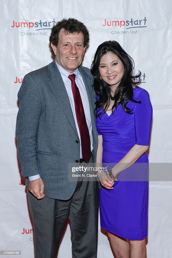 Journalists Nicholas Kristof (L) and Sheryl Wudunn arrive for the Scribbles To Novels 10th Anniversary Gala held at Pier Sixty at Chelsea Piers on April 16, 2015 in New York City.