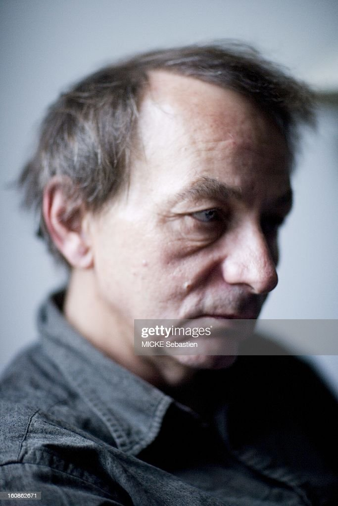 Journalists of 'Paris Match' <a gi-track='captionPersonalityLinkClicked' href=/galleries/search?phrase=Michel+Houellebecq&family=editorial&specificpeople=2164957 ng-click='$event.stopPropagation()'>Michel Houellebecq</a> has encountered meeting PARIS for the release of his book 'Public Enemies', published by Flammarion Grasset, compiling secret correspondence he exchanged with philosopher Bernard-Henri Levy. Photo style studio profile portrait of the writer.