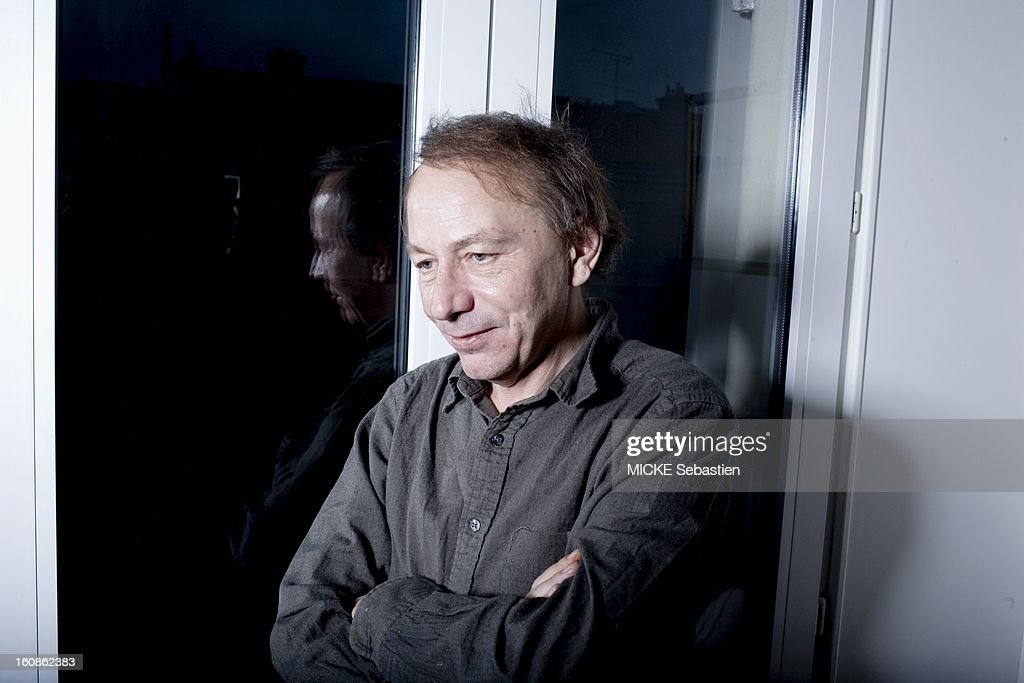 Journalists of 'Paris Match' <a gi-track='captionPersonalityLinkClicked' href=/galleries/search?phrase=Michel+Houellebecq&family=editorial&specificpeople=2164957 ng-click='$event.stopPropagation()'>Michel Houellebecq</a> has met PARIS for the release of his book 'Public Enemies', published by Flammarion Grasset, compiling secret correspondence he exchanged with philosopher Bernard-Henri Levy. Portrait of three-quarters of the writer smiling, arms crossed.