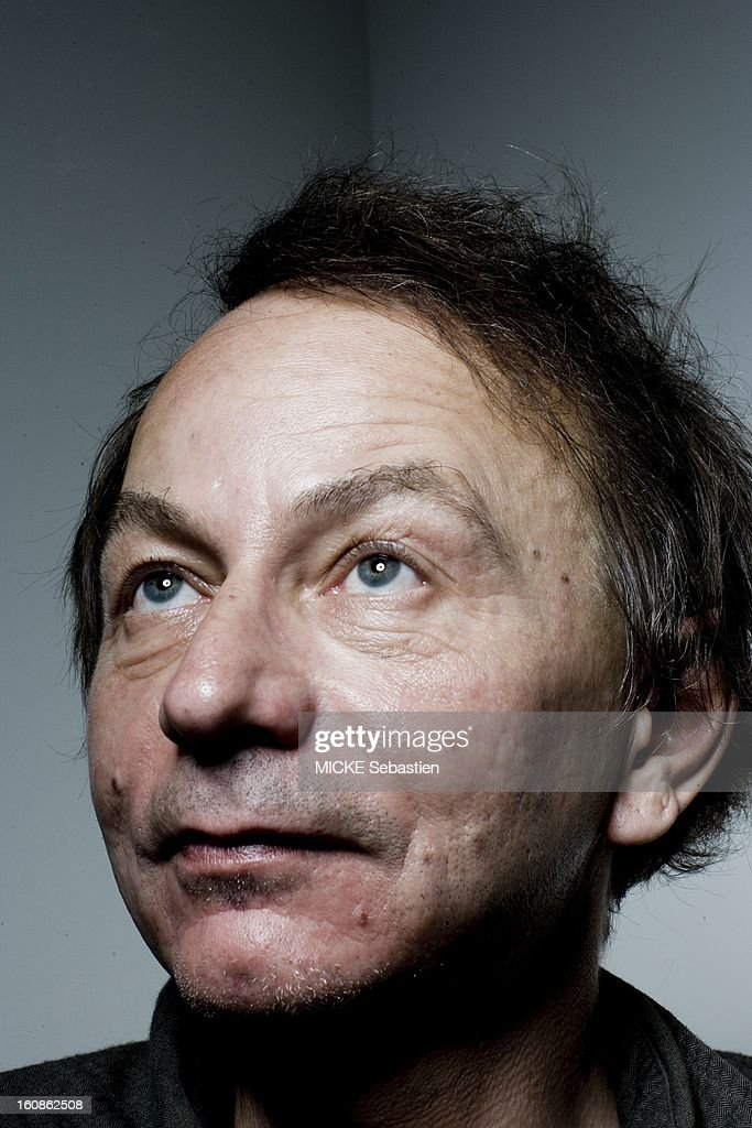 Journalists of 'Paris Match' <a gi-track='captionPersonalityLinkClicked' href=/galleries/search?phrase=Michel+Houellebecq&family=editorial&specificpeople=2164957 ng-click='$event.stopPropagation()'>Michel Houellebecq</a> has met PARIS for the release of his book 'Public Enemies', published by Flammarion Grasset, compiling secret correspondence he exchanged with philosopher Bernard-Henri Levy. Portrait of the writer, the latter looking up.